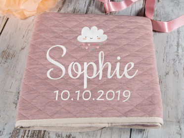 Girl  Blue Pink Personalised Pram Embroidered Baby Blanket Boy